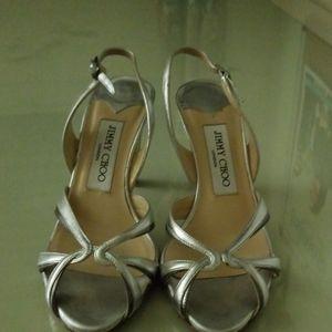 Silver Jimmy Choo high heel sling